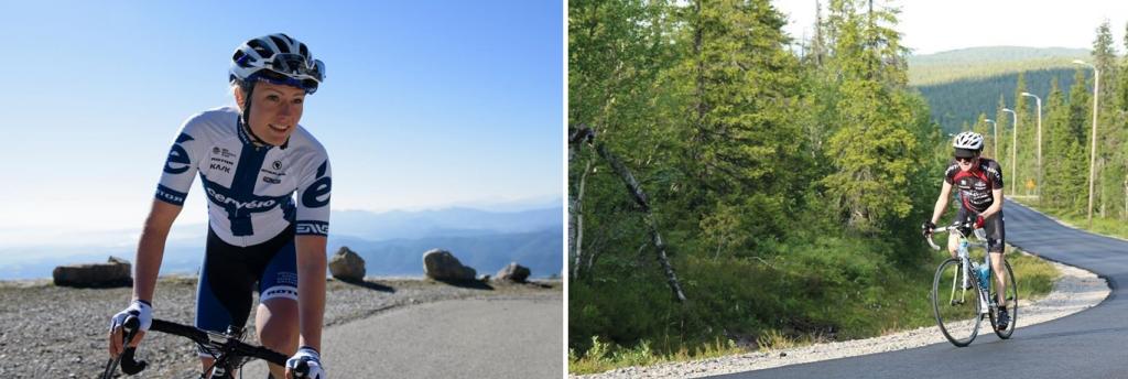 Maantiepyöräilyn Suomen ensimmäinen MM-mitalisti Lotta Lepistö osallistuu SM-kilpailuihin Pikku-Syötteellä. Mestaruudesta kilpailevat yleisen sarjan naiset ja miehet. Lepistö kuvassa vasemmalla keväällä Hollannissa (Lotta Lepistön kuva-arkisto / Instagram). Syötteen tunturialueella pääsee nauttimaan upeista maisemista ja haastavista reiteistä (kuva oikealla: Terva-ajot ry).